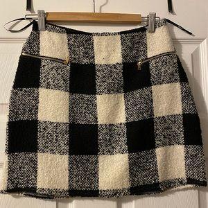 Black & Creme Plaid Skirt